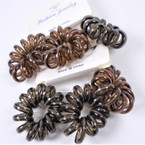 Trendy 3  Pack Large Phone Coil Ponytailers/Bracelets Two Tone Blk/Brown  .56 per set