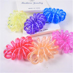 Trendy 3  Pack Large Phone Coil Ponytailers/Bracelets Two Tone Brights  .56 per set