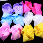 "7"" Jumbo Gator Clip Bows Pastel Colors w/ Bow Center .65 each"