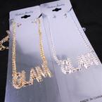 "Silver Chain Neck Set w/ Crystal Stone 2"" GLAM Pendant .58 ea set"