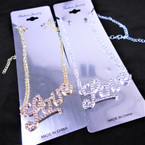 "Silver Chain Neck Set w/ Crystal Stone 2.5"" LOVE Pendant .58 ea set"