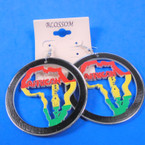 "2.5"" Round Wood Earrings w/   Map African Beauty Saying .54 per pair"