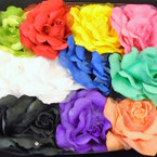 "6"" 3 in 1 Silk Flower w/ Chiffon Gator Clip,Pony Oh, Pin Mixed Colors .54 each"