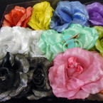 """5"""" 3 in 1 Silk Flower w/ Chiffon Gator Clip,Pony Oh, Pin SHINEY  .54 each"""