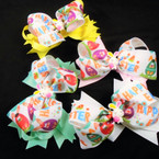"5"" Layered Happy Easter Gator Clip Bows Easter Colors .54 each"