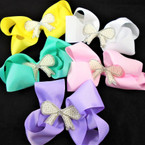 "5.5"" Gator Clip Bow w/ Pearl & Cry. Stone Middle Bow Pastel Colors .54 ea"