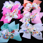 "5"" Layered Easter Gator Clip Bows Easter Colors .54 each"