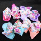 "5"" Layered Happy Easter Gator Clip Bows Easter Colors .54 ea"