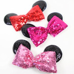 "6"" Sequin Bow w/ Black Mouse Ears on Gator Clip   12 per pk .54 each"