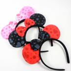Kid's Poka Dot & Heart Mouse Ear Headbands w/ Bow 3 colors .56 each