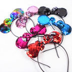 Kid's Sequin Change Color  Mouse Ear Headbands w/ Bow  .56 each