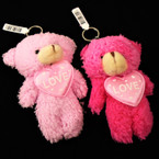 "5"" Soft Plush Teddies w/ I Love You Pillow 2 Pink Colors  12 per pk .62 each"