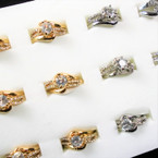 Wedding Band Ring Set Silver & Gold  w/ Crystal Stone Ring & Band (1034) .54 per set