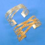 "1.5"" Gold & Silver Cuff Bangles  12 per pk .54 each"