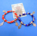 Red & Blue Eye Bead & Hamsa Theme Charm Bracelets .54 each
