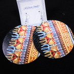 "3"" Multi Color Wood Earrings w/ African Clothes Print  .54 per pair"