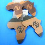 "3"" Two Tone Wood Africa Map Earrings w/ Symbol  .54 per pair"