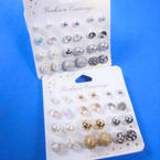 Value Pack 12 Pair Earrings As Shown (7492) .54 per set