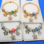 Gold & Silver Spring Style Bracelet w/ Elephant, Butterfly, Crystal Turtle  Charms .58 ea