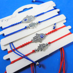 2 Pack Red & Blue Cord Bracelet Sets w/ Hamsa Charms .56 per set