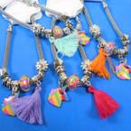 Pandora Style Charm Bracelets Silver w/  Unicorn Theme  w/ Tassel  .56 ea