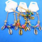 Pandora Style Charm Bracelets Gold/Silver w/ Metal Cowrie Shells  .56 each