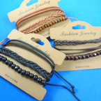 3 Stand Leather Bracelet Plus Wood Bead Bracelets .56 per set