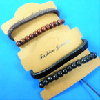 Wrapped Leather Bracelet Plus Wood Bead Bracelets.56 per set