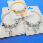 Gold & Silver Spring Style Bracelet w/ Crystal coverd Hi Heel & Fashion Charms and Beads  .58 ea