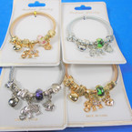 Gold & Silver Spring Style Bracelet w/ Puff Heart & Elephant Charm  .58 each