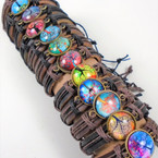Teen Leather Bracelet w/ Colorful Tree of Life  Theme  .54 ea