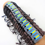 Teen Leather Bracelet w/ Metal Plaque Bahamas Flag .54 each