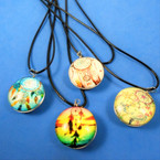 Leather Cord Necklace w/ Glass Pendant Mixed Dream Catchers  .56 ea