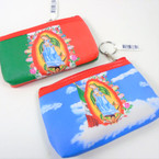 "3.5"" X 5"" Best Quality Guadalupe Zipper Coin Bag w/ Keychain .58 each"