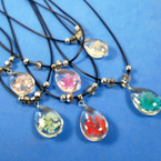 "16"" Adjustable Black Cord Necklace w/ Glass w/ Flower Pendant  .56 each"