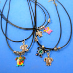 "16"" Adj. Black Cord Necklace w/ Turtle Pendant 2 styles 24 per pack  .30 each"