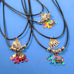"16"" Adj. Black Cord Necklace w/ Elephant Pendant 2 styles 24 per pack  .30 each"