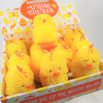 "3.5"" All Yellow Wind-Up Hopping Puffy Chicken 12 per display .75 each"