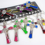 "3"" Asst Color Crucifix Metal Two Sided Keychains  .56 each"