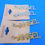 "2"" Gold & Silver Crystal Stone ANGEL Theme  Earrings .54 per pair"