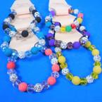 Cry. Stone Bead,Fireball Bead & Lava Rock Bead Stretch Bracelets .56 each