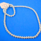 "16"" Glass Pearl Necklace Set w/ Bracelet All Cream .56 PER SET"