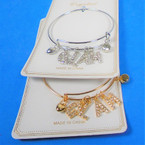 Gold & Silver Wire Bangle Bracelet w/ Crystal Stone Letter GLAM  .56 ea