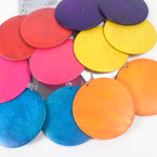 "Round Wood 2.25"" Fashion Earring Bright Colors  .54 each"