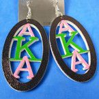 "2.5"" Oval  AKA Sorority Theme Wood Earrings color as shown  .56 per pair"