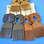 "3"" Wood Earrings Hair Comb & Afro Theme 3 colors per dz .54 per pair"