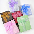 "2.75"" X 3.5"" Metallic Square Gift Boxes w/ Metallic Ribbon .55 ea"