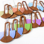 "2.5"" New Fashion Wood Earrings w/ Pastel Color   Mixed colors .54 per pair"