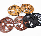 "2.75"" New Round Wood Earrings Symbol Style    .54 per pair"
