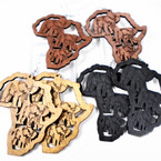 "3"" New Wood Earrings Africa Map w/ Carved Elephants   .54 per pair"